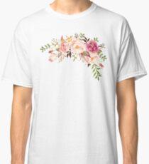 Romantischer Aquarell-Blumen-Blumenstrauß Classic T-Shirt