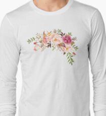 Romantischer Aquarell-Blumen-Blumenstrauß Langarmshirt