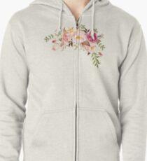 Romantischer Aquarell-Blumen-Blumenstrauß Hoodie mit Reißverschluss