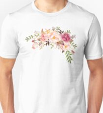 Camiseta unisex Romántico ramo de flores de acuarela