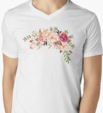 Romantic Watercolor Flower Bouquet Men's V-Neck T-Shirt