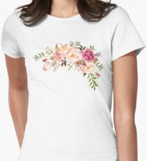 Romantic Watercolor Flower Bouquet Women's Fitted T-Shirt