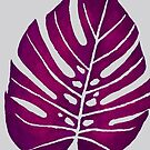 MAGENTA MONSTERA LEAF - Watercolor Tropical Frond Design by VegShop