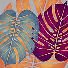 MONSTERA LEAVES - Orange, Magenta, & Blue Swiss Cheese Leafs On Gray by VegShop