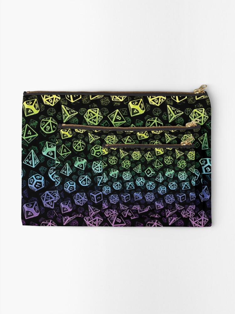 Alternate view of D20 Dice Set Pattern (Rainbow) Zipper Pouch