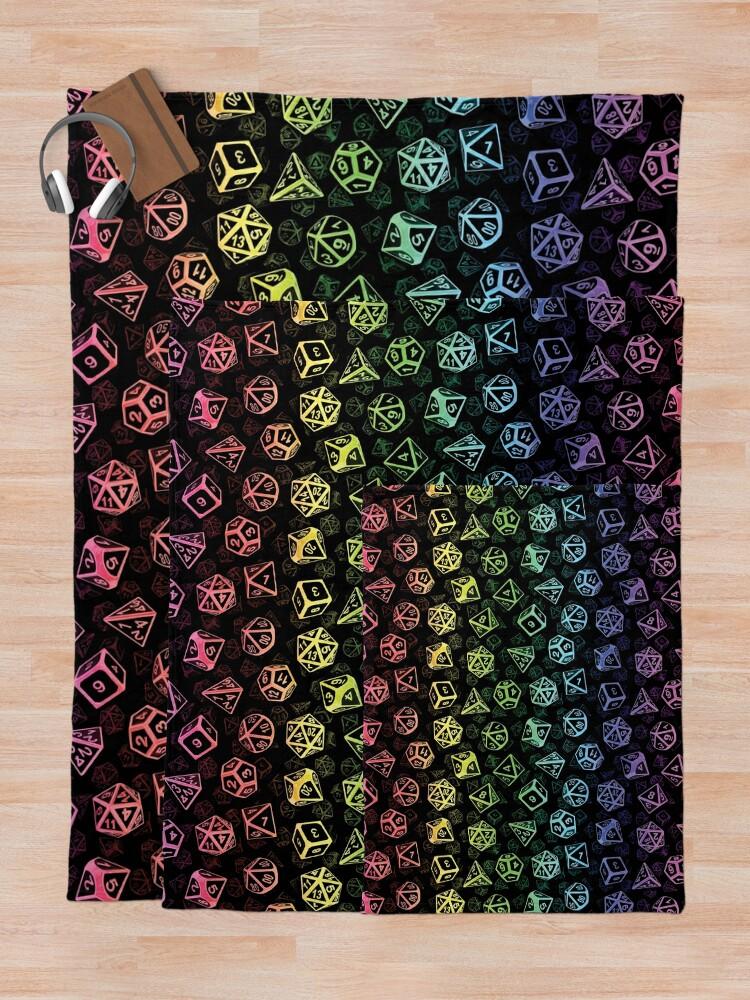 Alternate view of D20 Dice Set Pattern (Rainbow) Throw Blanket