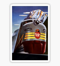 Canada Vintage Railroad Travel Poster Restored Sticker