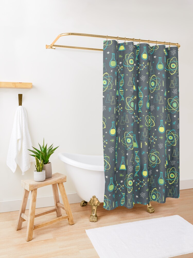 Alternate view of Midcentury Modern Science Shower Curtain
