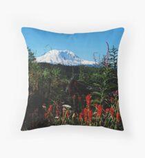 Wildflowers & Mt. Rainier Throw Pillow