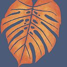 ORANGE MONSTERA LEAF – Watercolor Tropical Frond In Red & Yellow Against Slate by VegShop