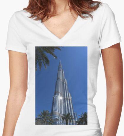 Burj Khalifa Dubai Mall, Dubai Women's Fitted V-Neck T-Shirt