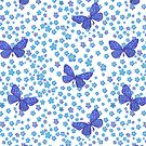 Watercolor Forgetmenots and Blue Butterflies by MagentaRose
