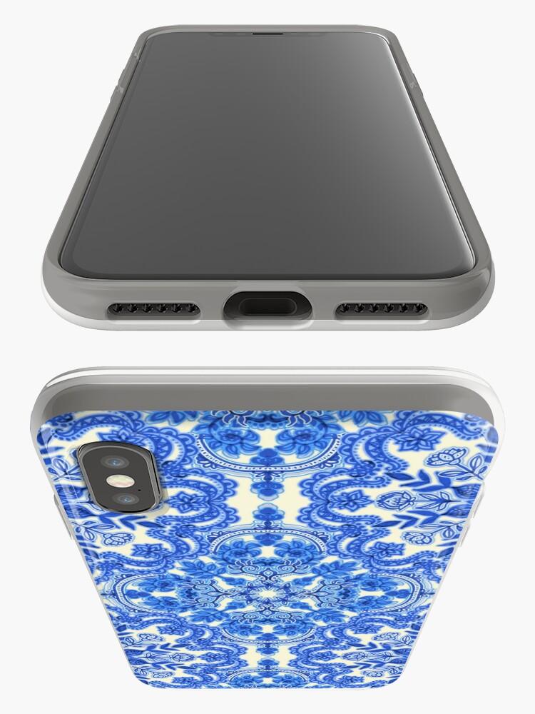 Alternate view of Cobalt Blue & China White Folk Art Pattern iPhone Case & Cover