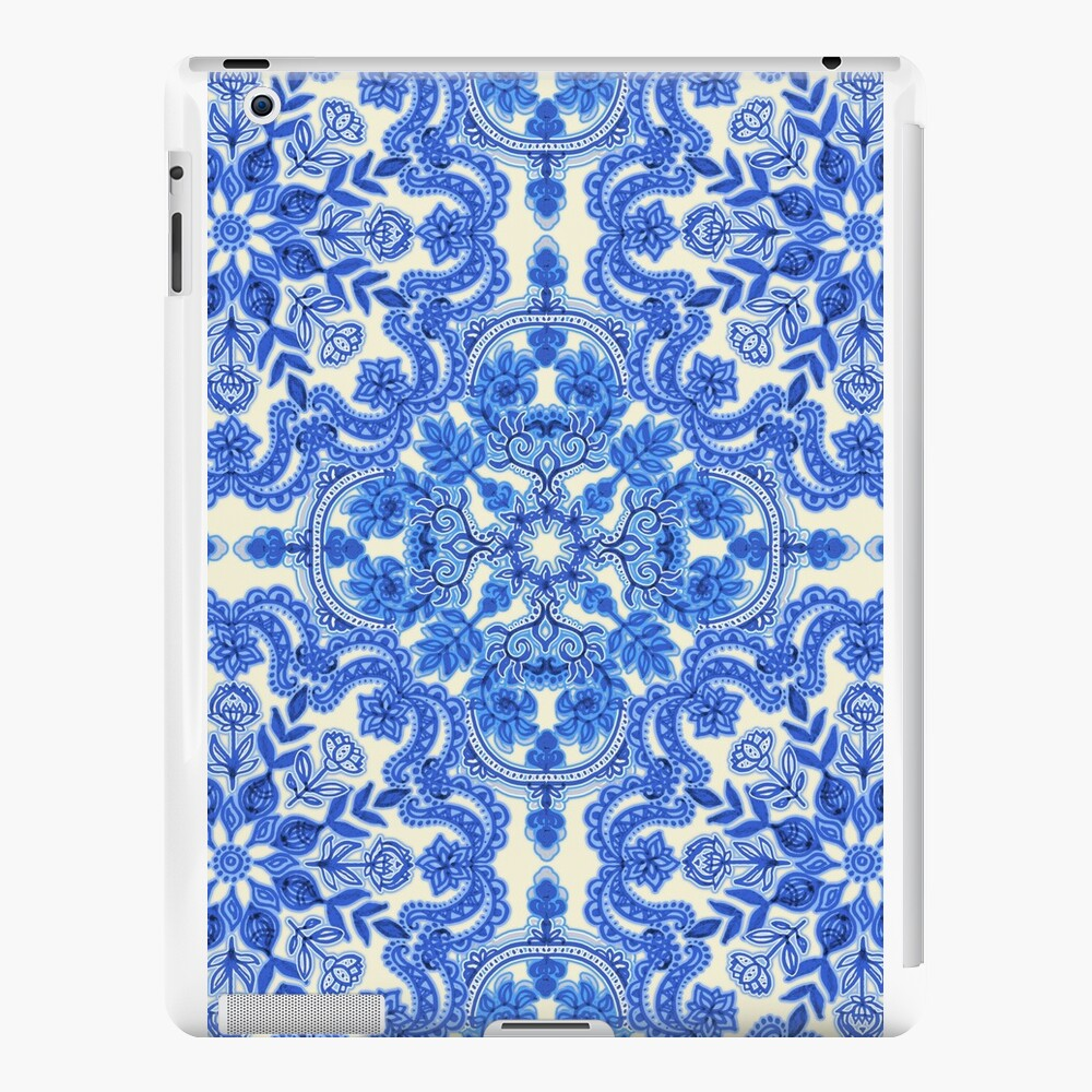 Cobalt Blue & China White Folk Art Pattern Vinilos y fundas para iPad