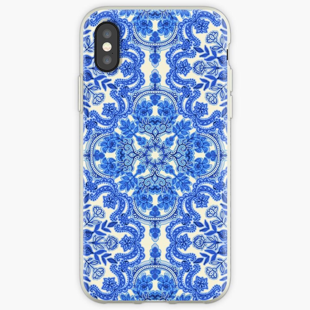 Cobalt Blue & China White Folk Art Pattern iPhone Case & Cover