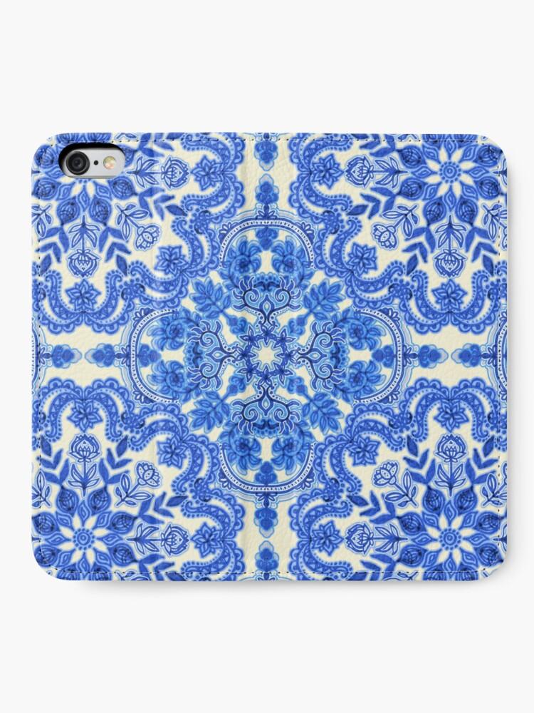 Alternative Ansicht von Kobaltblau und China White Folk Art Pattern iPhone Flip-Case