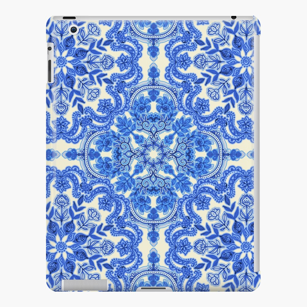 Cobalt Blue & China White Folk Art Pattern Funda y vinilo para iPad