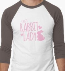 Crazy Rabbit (bunny) lady in pink Men's Baseball ¾ T-Shirt