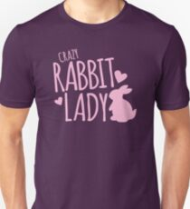Crazy Rabbit (bunny) lady in pink Slim Fit T-Shirt