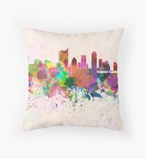 Austin skyline in watercolor background Throw Pillow