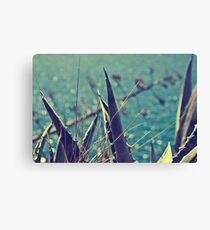 A languid atmosphere, a lazy breeze, With labored respiration, moves the wheat Canvas Print