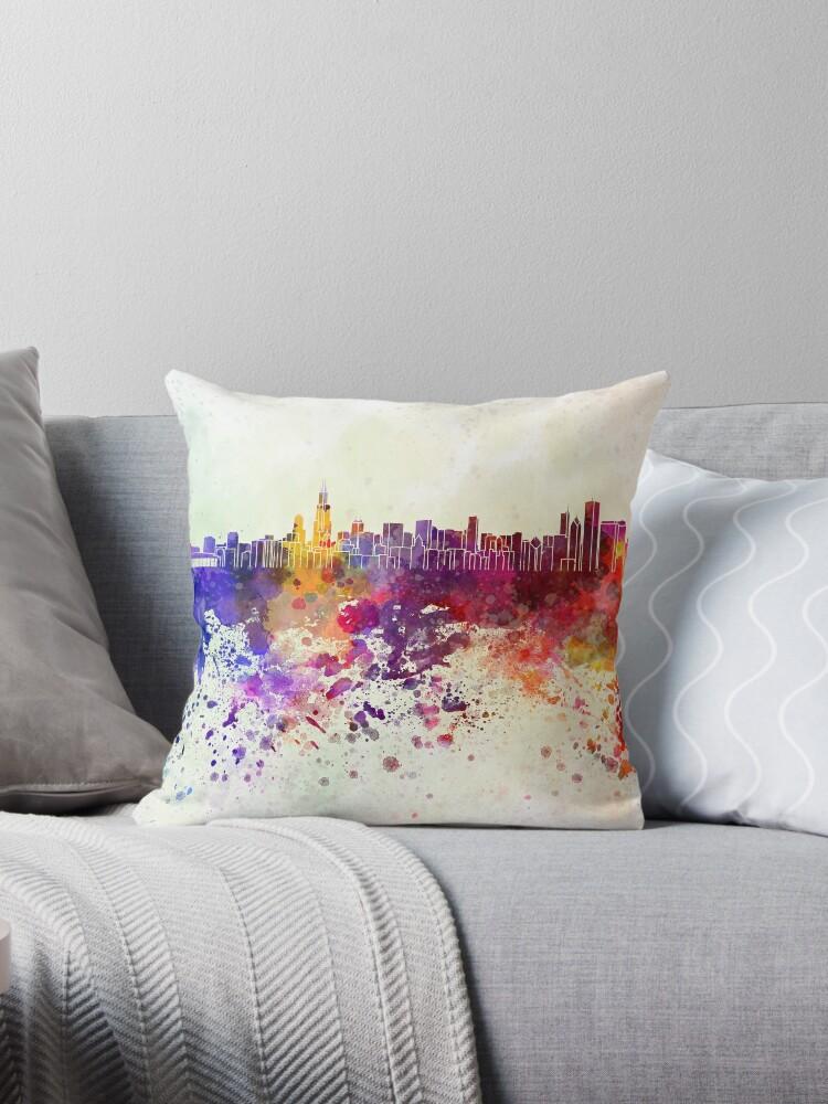Chicago-Skyline im Aquarellhintergrund von paulrommer