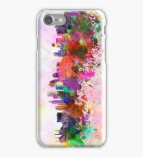 Kansas City skyline in watercolor background iPhone Case/Skin