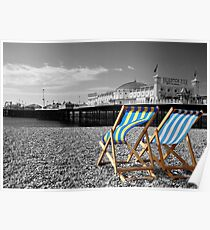 """""""Great View"""" - Deck chairs on Brighton beach. Poster"""