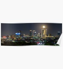 Supermoon über Downtown Fort Worth Poster