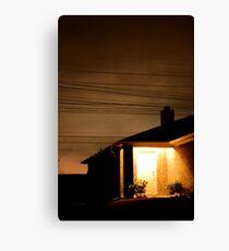 A Suburban Home at Night Canvas Print