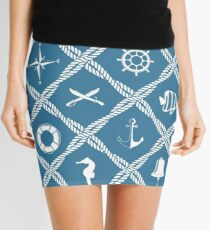 Nautical rope knot pattern with sea objects Mini Skirt