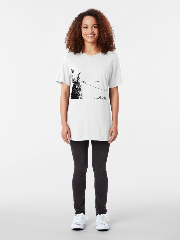 Alternate view of Crows on a wire Slim Fit T-Shirt
