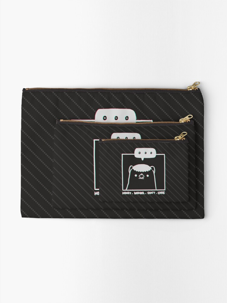 Alternate view of Honey Badger Don't Care - Monochrome 3D Zipper Pouch