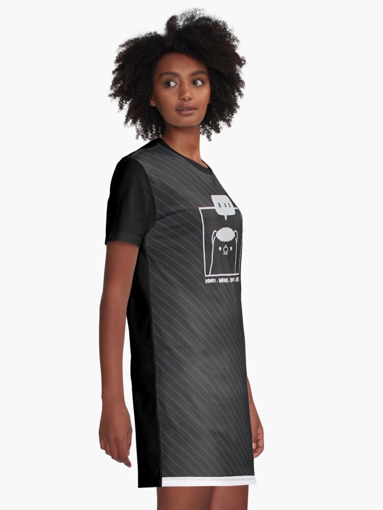 Alternate view of Honey Badger Don't Care - Monochrome 3D Graphic T-Shirt Dress