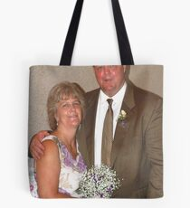 Bride, groom and bouquet Tote Bag