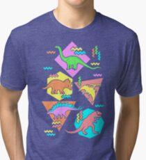 Nineties Dinosaurs Pattern Tri-blend T-Shirt