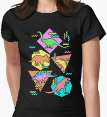Nineties Dinosaurs Pattern Women's Fitted T-Shirt