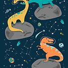 Dinosaurs Floating on an Asteroid by latheandquill