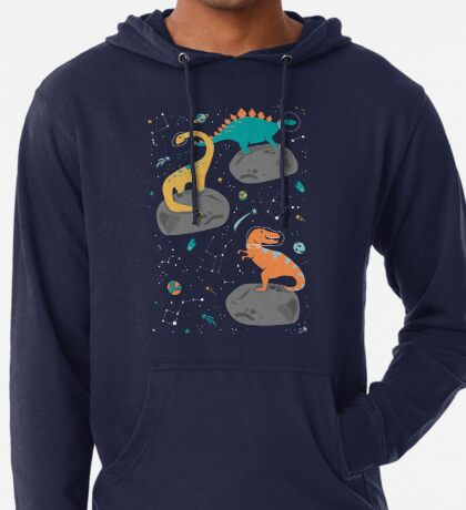 Dinosaurs Floating on an Asteroid Lightweight Hoodie