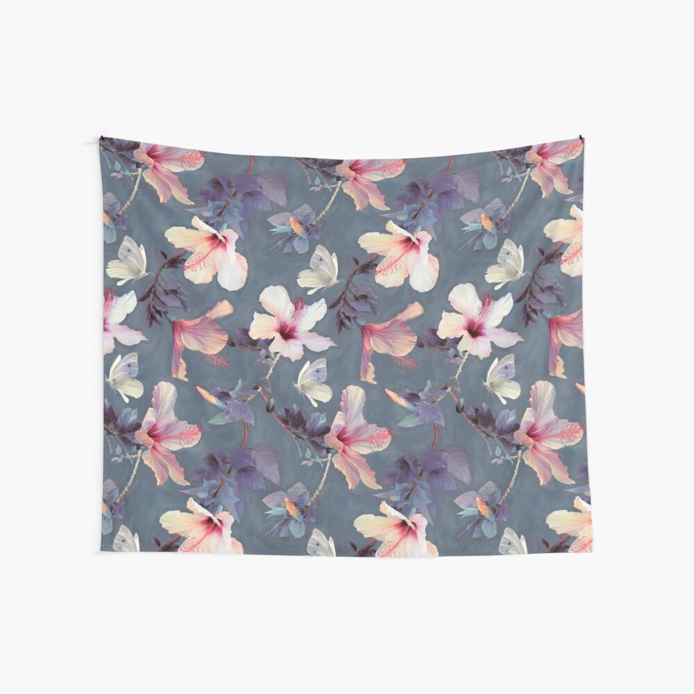 Mariposas y flores de hibisco - un patrón pintado Tela decorativa