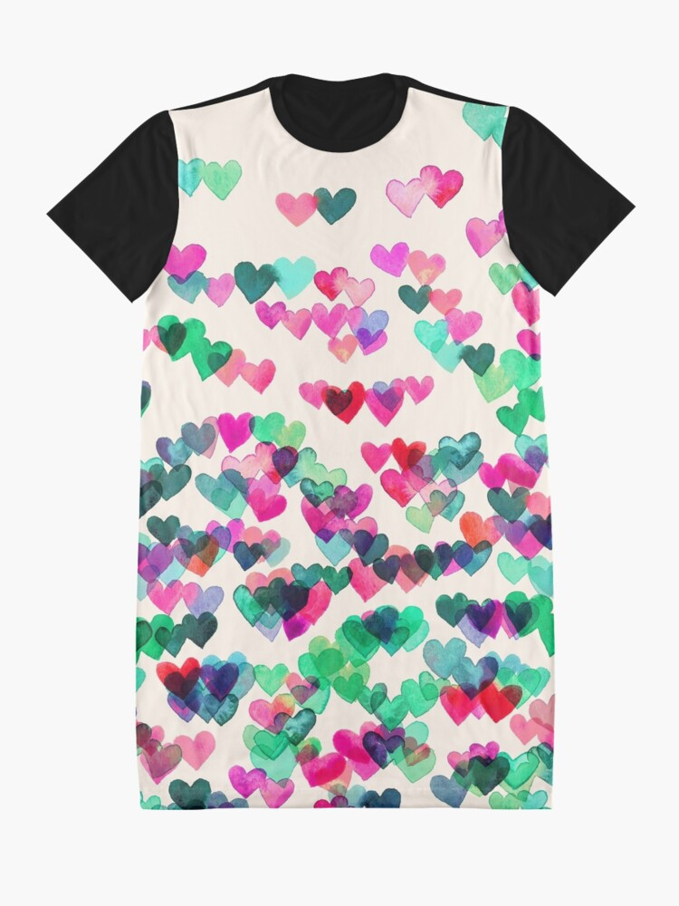 Alternate view of Heart Connections II - watercolor painting (color variation) Graphic T-Shirt Dress