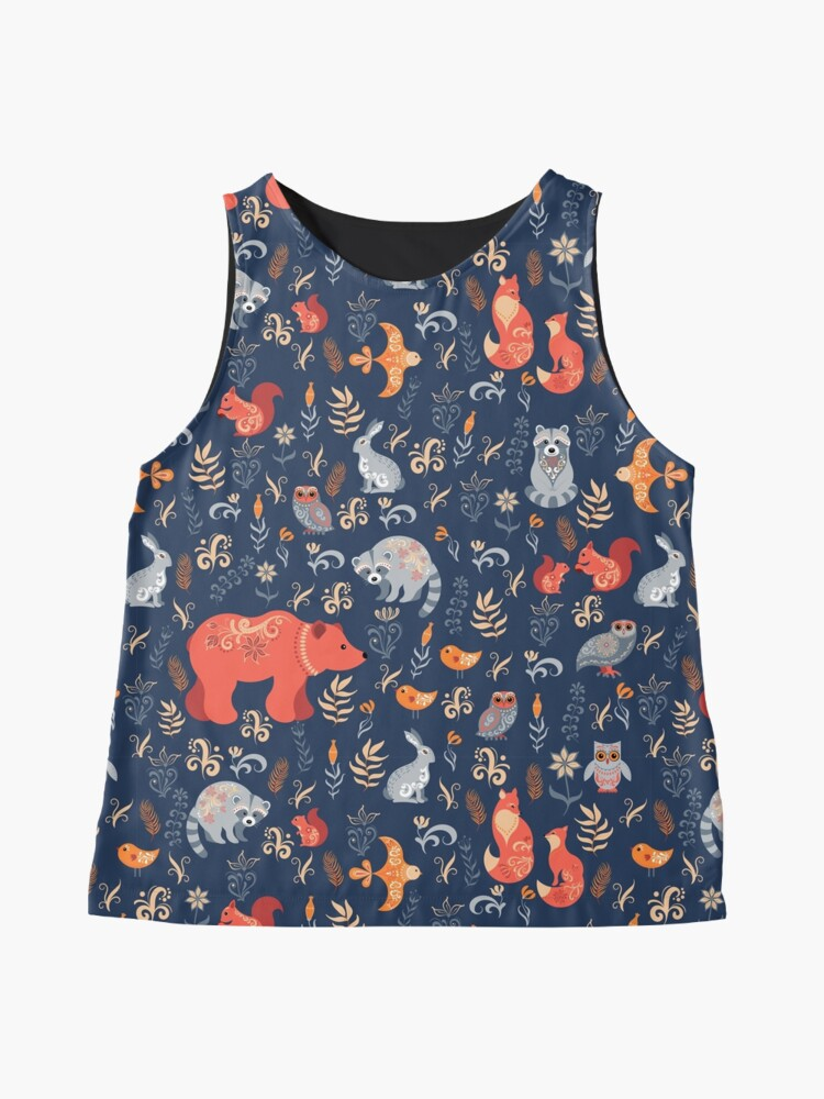 Alternate view of Fairy-tale forest. Fox, bear, raccoon, owls, rabbits, flowers and herbs on a blue background. Sleeveless Top