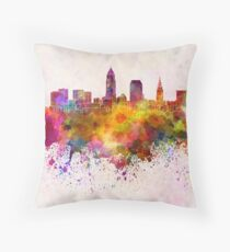 Cleveland skyline in watercolor background Throw Pillow