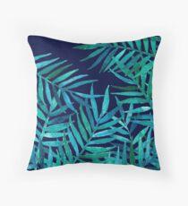Cojín Hojas de palma de acuarela en azul marino