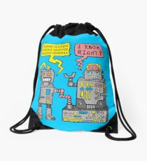 Robot Talk Drawstring Bag