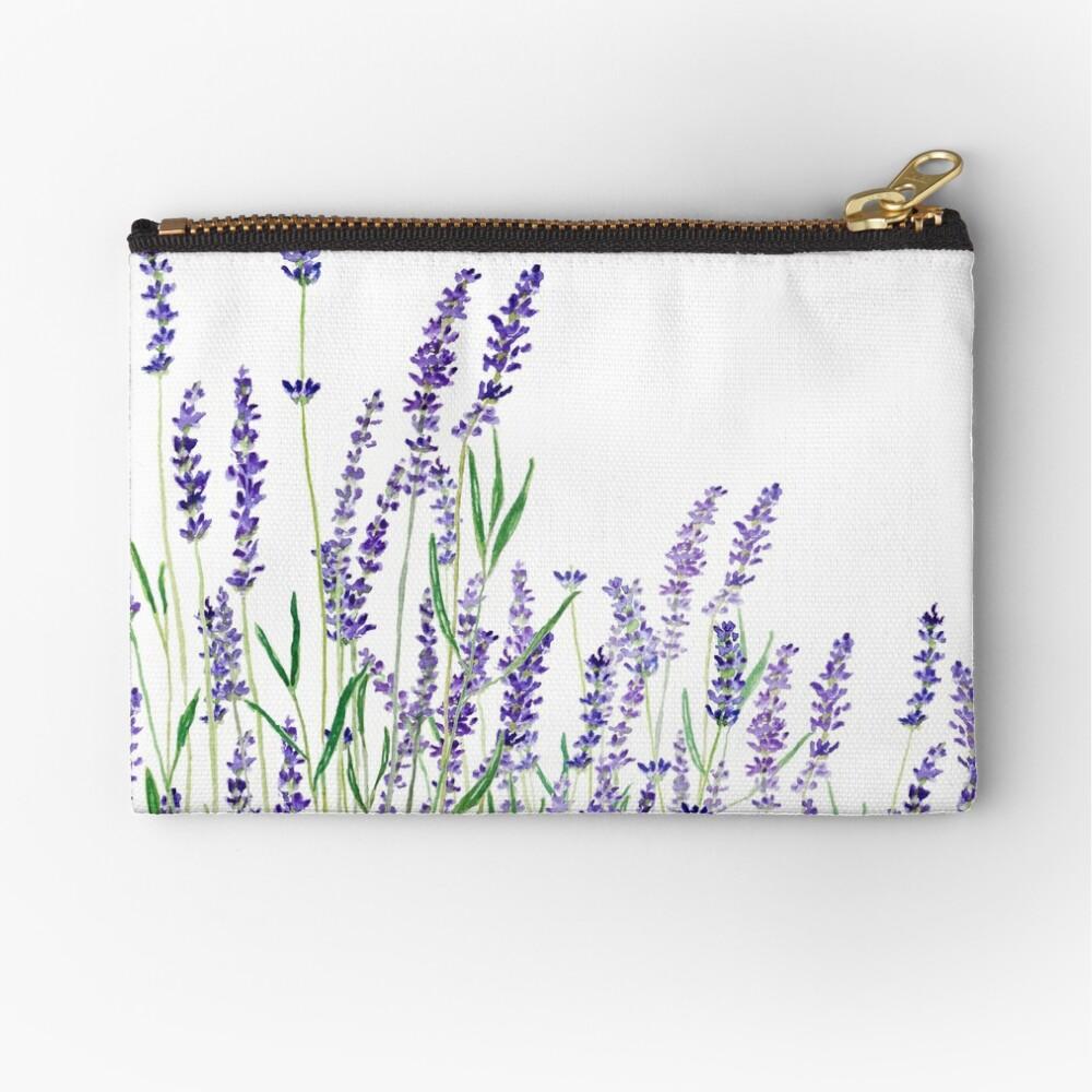 purple lavender horizontal watercolor Zipper Pouch