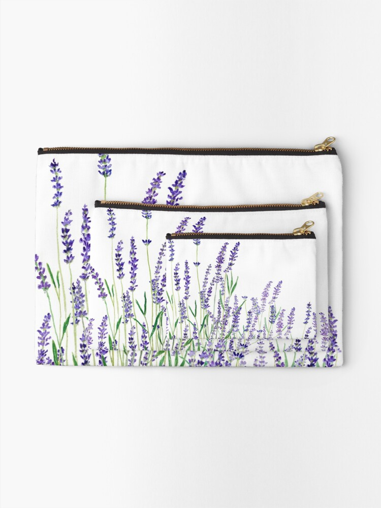 Alternate view of purple lavender horizontal watercolor Zipper Pouch