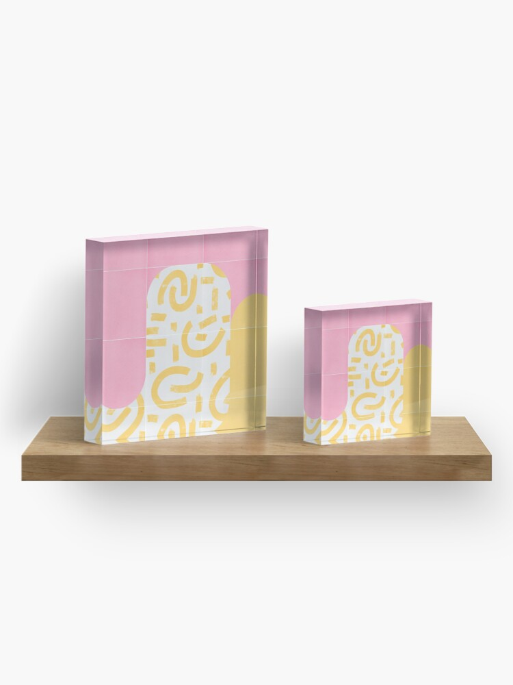 Alternate view of Sunny Doodle Tiles 02 #redbubble #midmod Acrylic Block