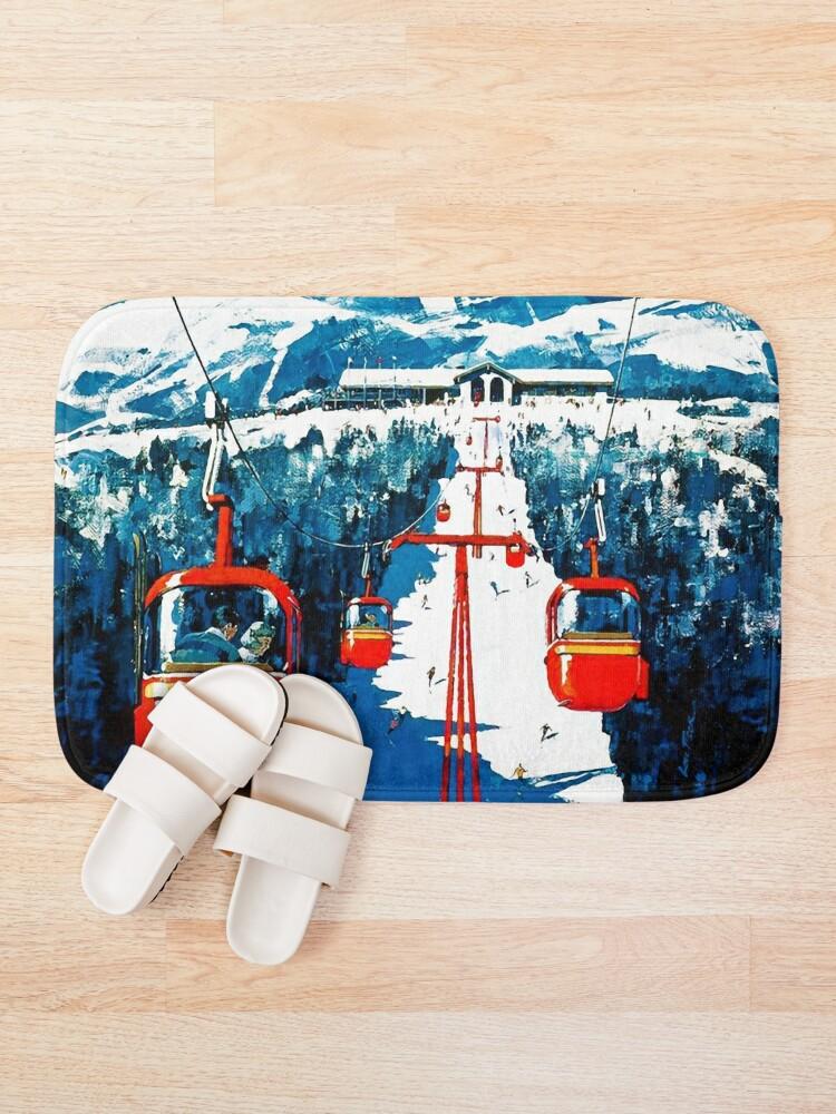Alternate view of Vintage Stowe gondola winter travel ski poster Bath Mat