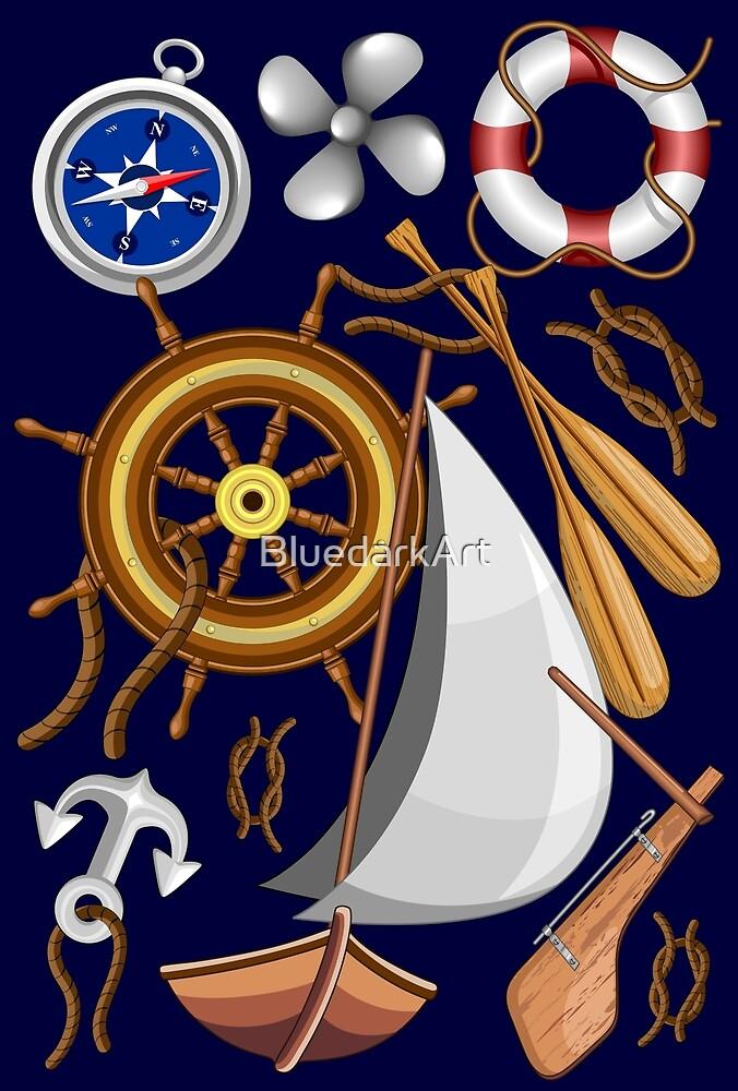 Nautical Marine and Navy Equipment Pattern by BluedarkArt